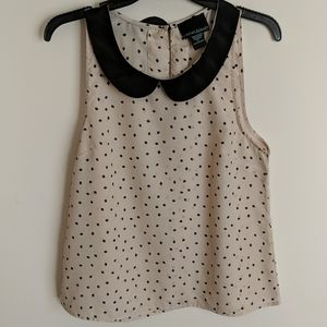 square dotted print tank blouse